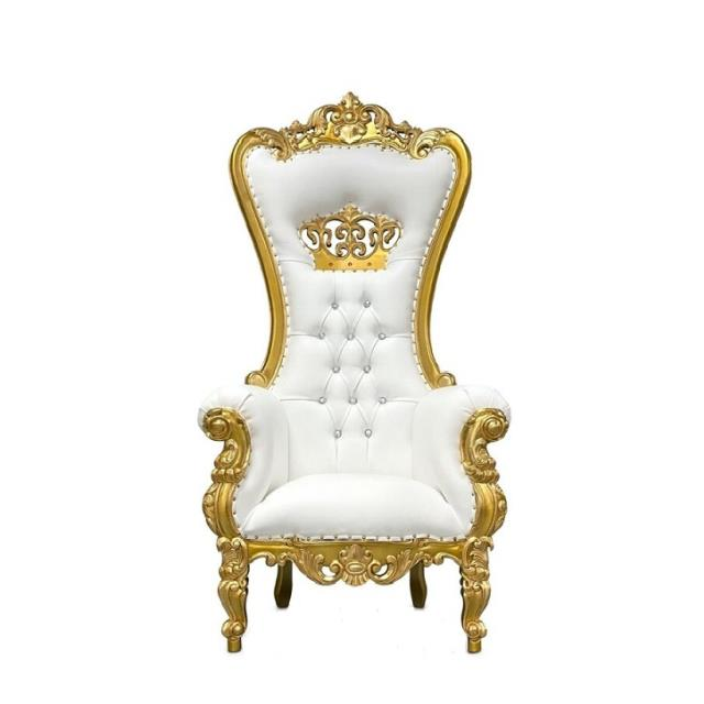 Where to find Chair Throne White Gold Trim in Naples